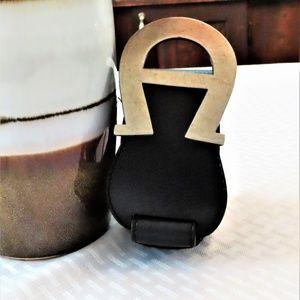 🎉NEW ITEM🎉Black Vegan Leather Aigner Belt-